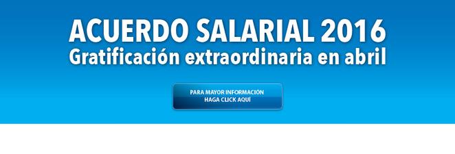 Acuerdo Salarial 2016: Gratificación extraordinaria en abril